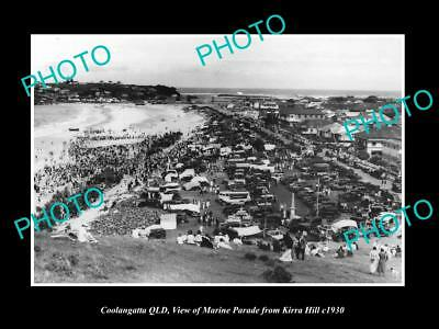 OLD LARGE HISTORIC PHOTO OF COOLANGATTA QUEENSLAND, VIEW OF MARINE PARADE c1930
