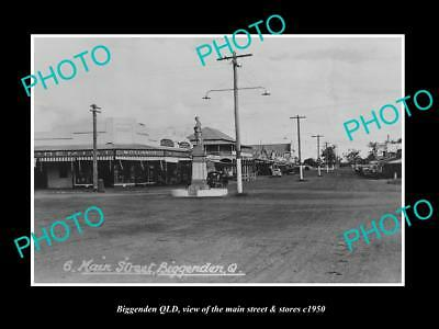 OLD LARGE HISTORIC PHOTO OF BIGGENDEN QUEENSLAND, THE MAIN ST & STORES c1950