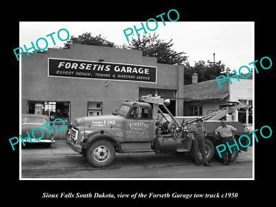Old Large Historic Photo Of Sioux Falls South Dakota, The Forseth Tow Truck 1950