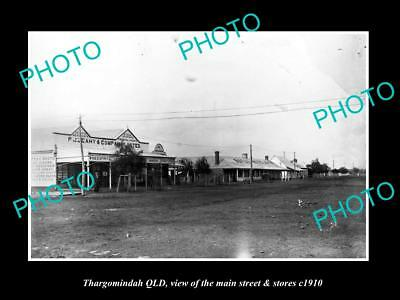 OLD LARGE HISTORIC PHOTO OF THARGOMINDAH QLD, THE MAIN ST & STORES c1910