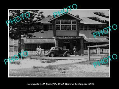 Old Large Historic Photo Of Coolangatta Queensland, View Of The Beach House 1930