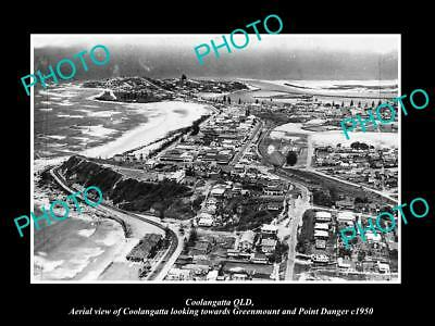 OLD LARGE HISTORIC PHOTO OF COOLANGATTA QUEENSLAND, AERIAL VIEW OF TOWN c1950