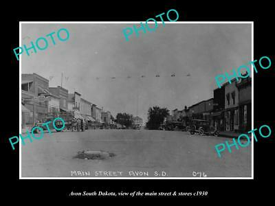 OLD LARGE HISTORIC PHOTO OF AVON SOUTH DAKOTA, THE MAIN ST & STORES c1930