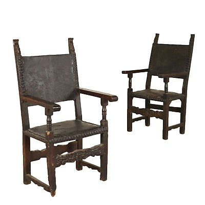 Pair of Thrones Solid Walnut Poplar Baroque Late 1600s