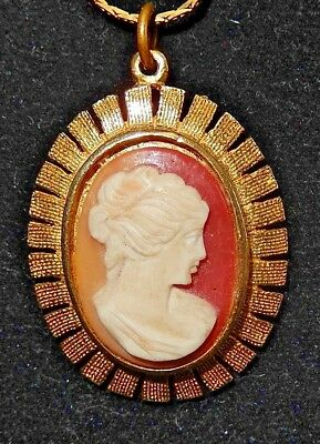 Beautiful Vintage Gold-Tone Chain With Pink & White Textured Cameo Necklace