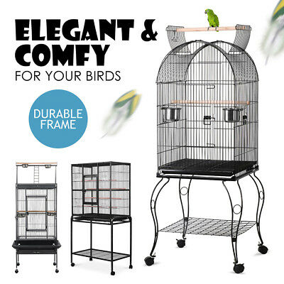173/160/150cm Bird Cage Pet Parrot Aviary Open Perch Roof Budgie Castor Tray