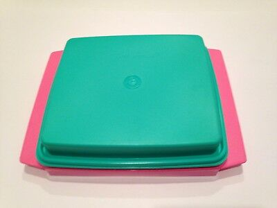 Vintage TUPPERWARE Deviled Egg Carrier Keeper 723-1**Pink Teal Yellow