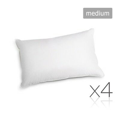 Family 4 Pack Bed Pillows Medium Cotton Cover 48X73CM Brand New @HOT