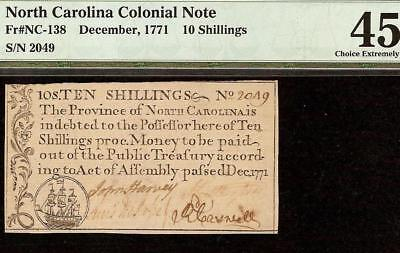 Dec 1771 North Carolina Colonial Currency Ship Note Paper Money Nc-138 Pmg 45