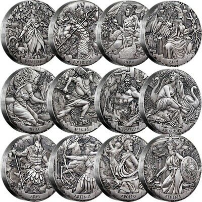 Gods of Olympus Silver, - Silber - High Relief Antiqued Twelve-Coin 12x 2oz