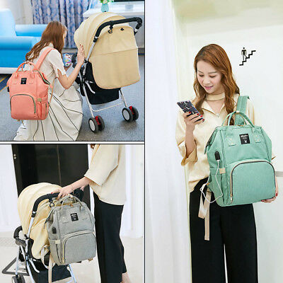 Travel Backpack USB Mammy Large Capacity Baby Diaper Nappy Changing Bag External