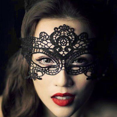 Halloween Masquerade Sexy Lady Black Lace Mask hollow out Catwoman Batman veil E