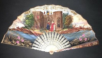Fine Antique French Mother Of Pearl Engraved Hand Colored Medieval Scene Fan
