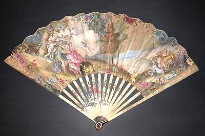 Rare Antique French Or Dutch Circa 1700 Hand Painted Figural Mythological Fan