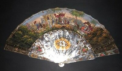 Superb Antique French Mother Of Pearl Figural Chinoiseries & Medieval Scene Fan