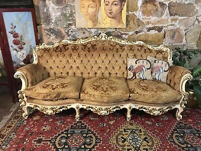 Vintage French Louis Style 3 Seater Lounge Chair~Sofa-Restoration Project~As Is""