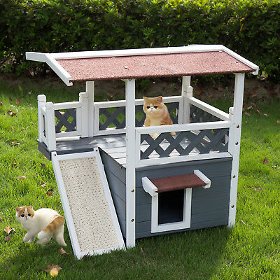 Wooden Pet House Cat Dog House Puppy Kennel In/Outdoor Shelter W/Stair&Door