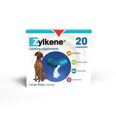 Zylkene Capsules 450mg Pack Of 20 Dog Calming Supplement Tablets Stress Relief