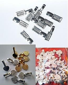 Glue On Bails Pack of 10, 3 styles small, medium large silver or gold colour