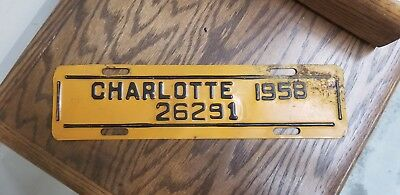 1958 Charlotte City License Plate Topper