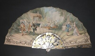 Great Antique Frech Gold Silver Inlay Mother Of Pearl Painted Rococo Scene Fan