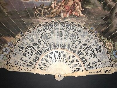 Fine Antique 18Th French Filigree Figural Carved Hand Painted Chinese Scene Fan
