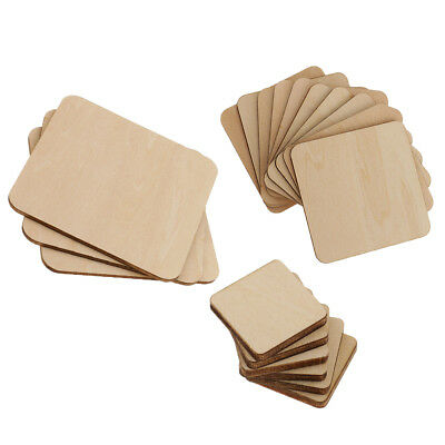 43x Square MDF Unfinished Wood Blank Plaque DIY Craft Material 20/60/100mm