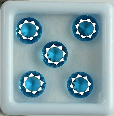 5 Carat Natural Untreated Round AGSL Certified Blue Apatite Gemstone Lot 5 Pcs