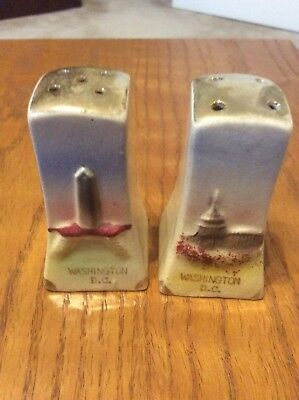 Vintage Capsco Souvenir Salt Pepper Shakers Washington DC Monument Made In Japan