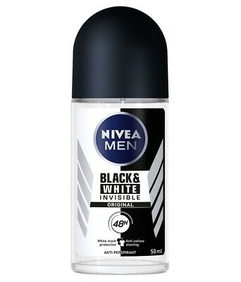2 Pack Nivea Men Invisible For Black and White 48H Anti-Perspirant Roll On 50ml
