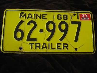Vtg 1968 Maine Me Yellow Trailer License Plate W/1969 Tag