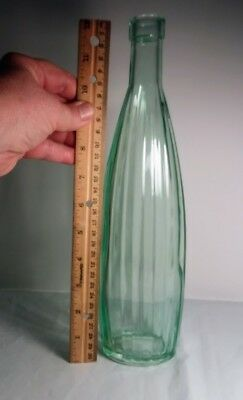 "Blown Glass Bottle Green Mold #2 Ribbed 12"" Tall"