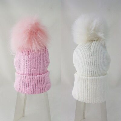 Baby & Girls Spanish Style Pink White Large Faux Fur Pom Pom Knitted Hat AW18