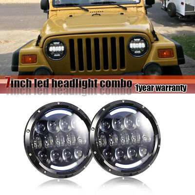 """7"""" Round led headlightX2 DOT High Low Beam for Freightliner Century JEEP JK Life"""