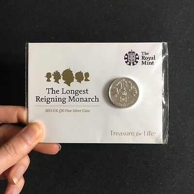 The Royal Mint - The Longest Reigning Monarch - 2015 UK £20 Fine Silver Coin