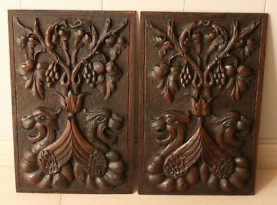 Signes wood carved XIX° th, dragons , raisins, leaves of vine