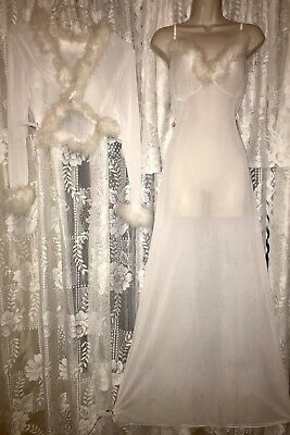 Vtg White Sheer Bed Jacket Nightgown Gown Dress MARABOU FROZEN COSTUME 1 sz TALL