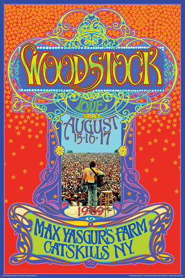 Woodstock Concert Exposition Framed Poster Premium Wood Molding 24x36