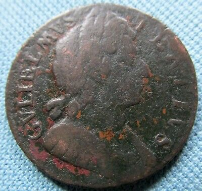 1697 King William III British US Colonial Halfpenny Copper - 1600s Old Coin