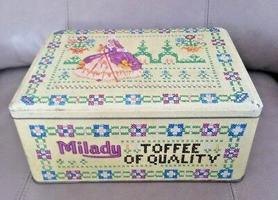 Original Vintage Milady Toffee Advertising Tin , Tapestry Cross Stitch Pattern