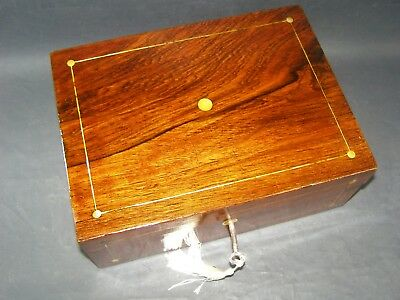 Antique Rosewood Box Working Lock & Key C1870 Mother Of Pearl Roundels & Center