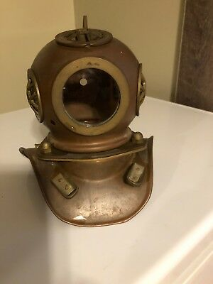 Miniature Replica Copper And Brass Diving Helmet Vintage
