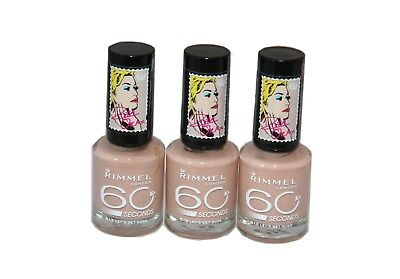 3 x Rimmel 60 Seconds Nail Polish 8ml |  Shade: Lets Get Nude 513