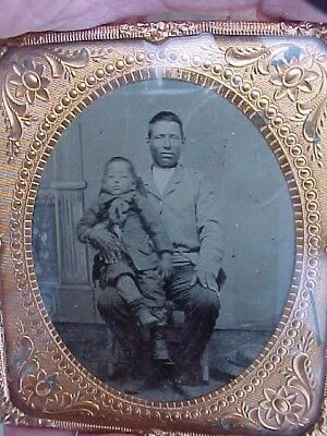 "Period  Native American Tintype Photo ""White Cloud & Son"" Nice Condition"