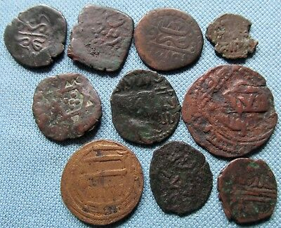 Lot of 10 Old Coins Islamic Mideast? North Africa? Coppers Unknown to Identify