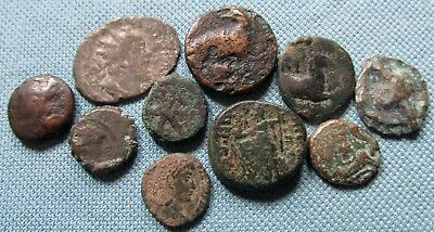 Lot of 10 Ancient Coins Greek Roman etc. Bronzes Unknown to Identify