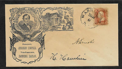 Lincoln Campaign collector envelope w original period stamp 157 years old *1346