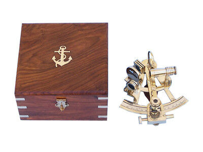 "Solid Brass British Sextant 6"" w/ Wooden Case Marine Astrolabe Desktop Decor New"