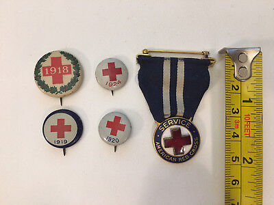 Lot of 5 ARC American RED CROSS Pins and Service Ribbon 1918-1924