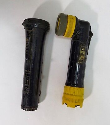 Vintage Usn & Fulton Right-Angle Mining Flashlights - Working Condition!!!